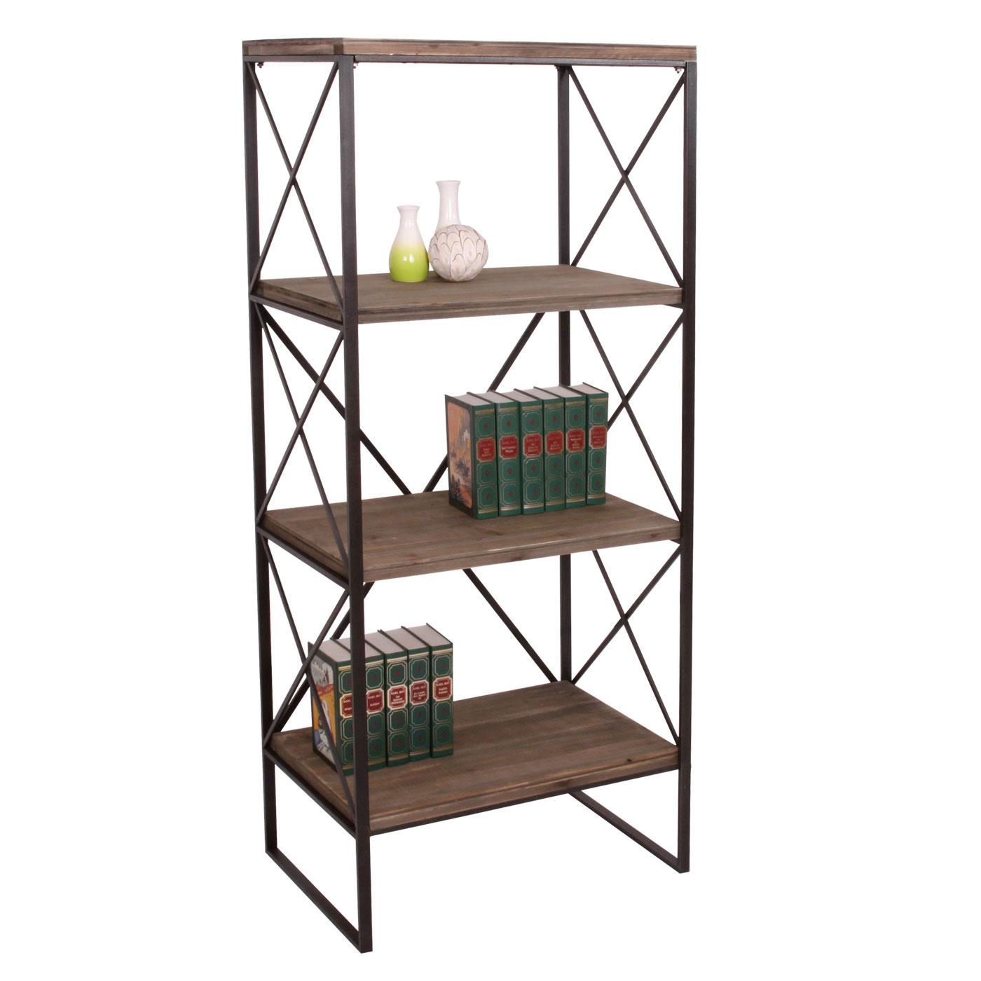 b cherregal hwc echtholz metall 4 ebenen 142x60cm. Black Bedroom Furniture Sets. Home Design Ideas