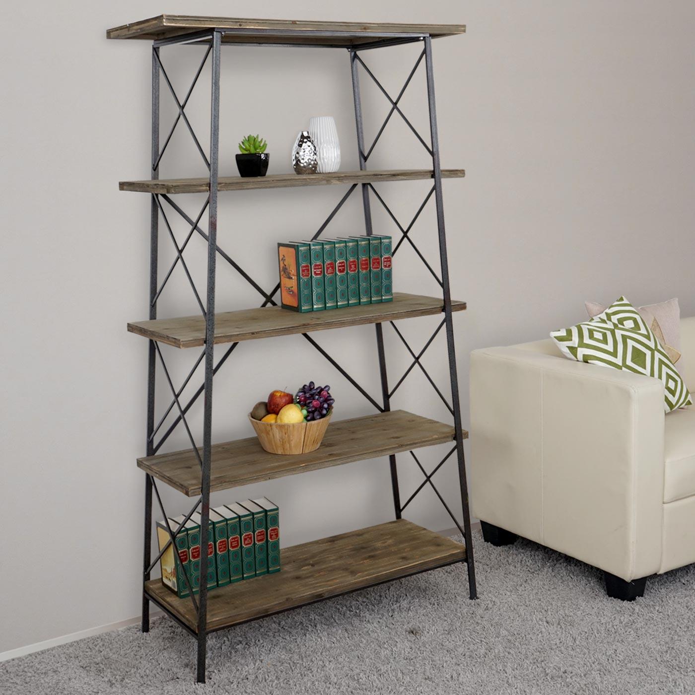 b cherregal hwc echtholz metall 5 ebenen 172x92cm. Black Bedroom Furniture Sets. Home Design Ideas