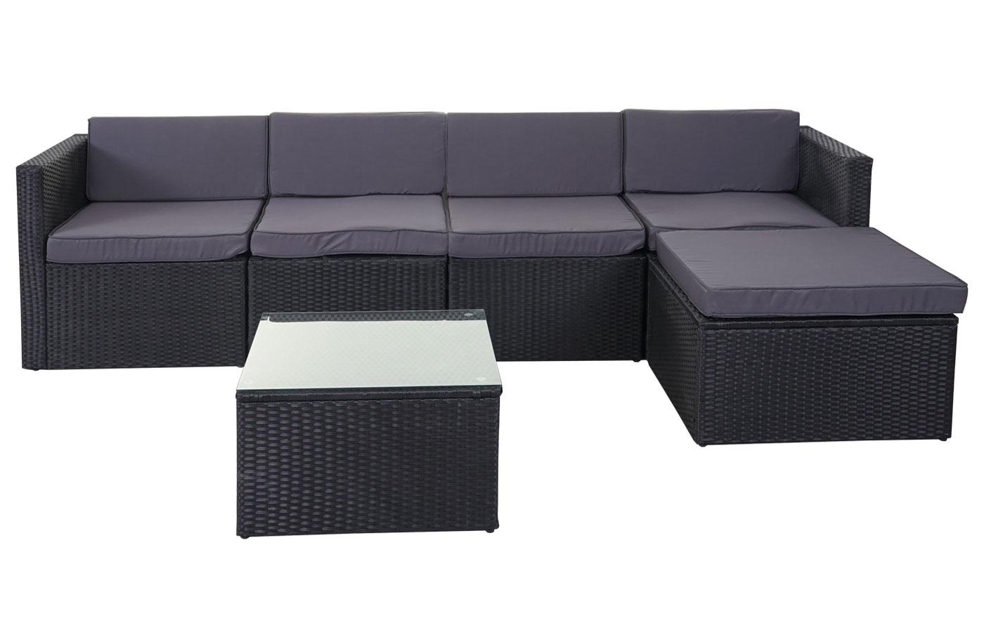 rattan lounge sunshine ii garten sitzgruppe grau polster. Black Bedroom Furniture Sets. Home Design Ideas