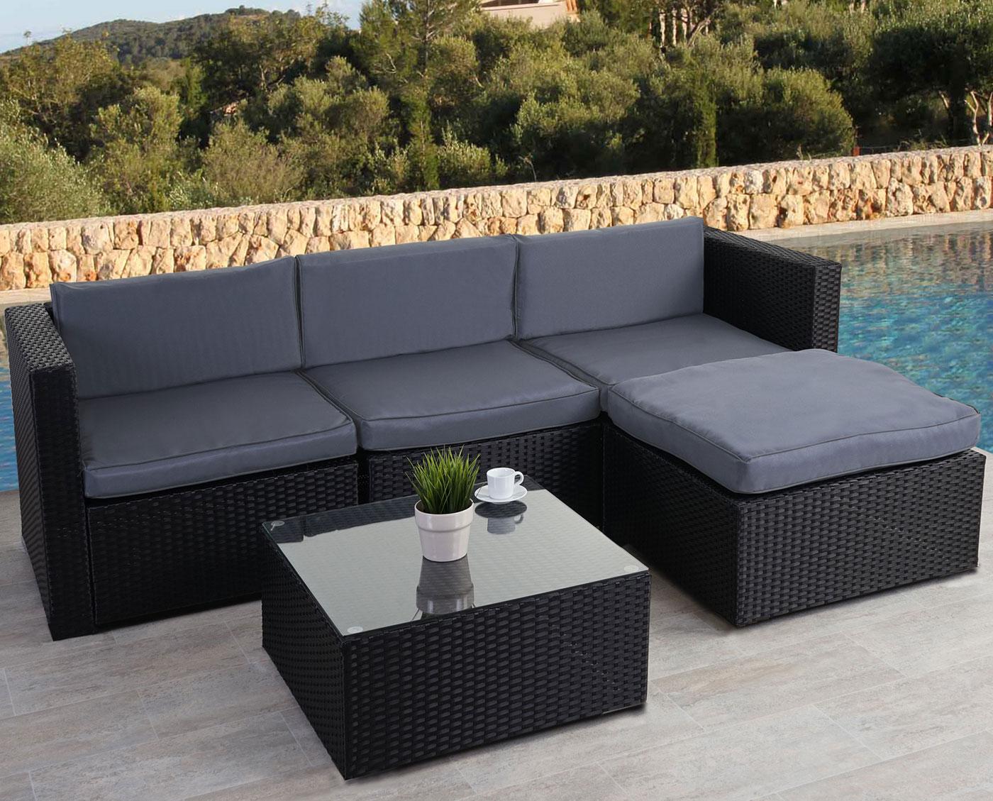 poly rattan lounge hwc d28 sitzgarnitur anthrazit. Black Bedroom Furniture Sets. Home Design Ideas