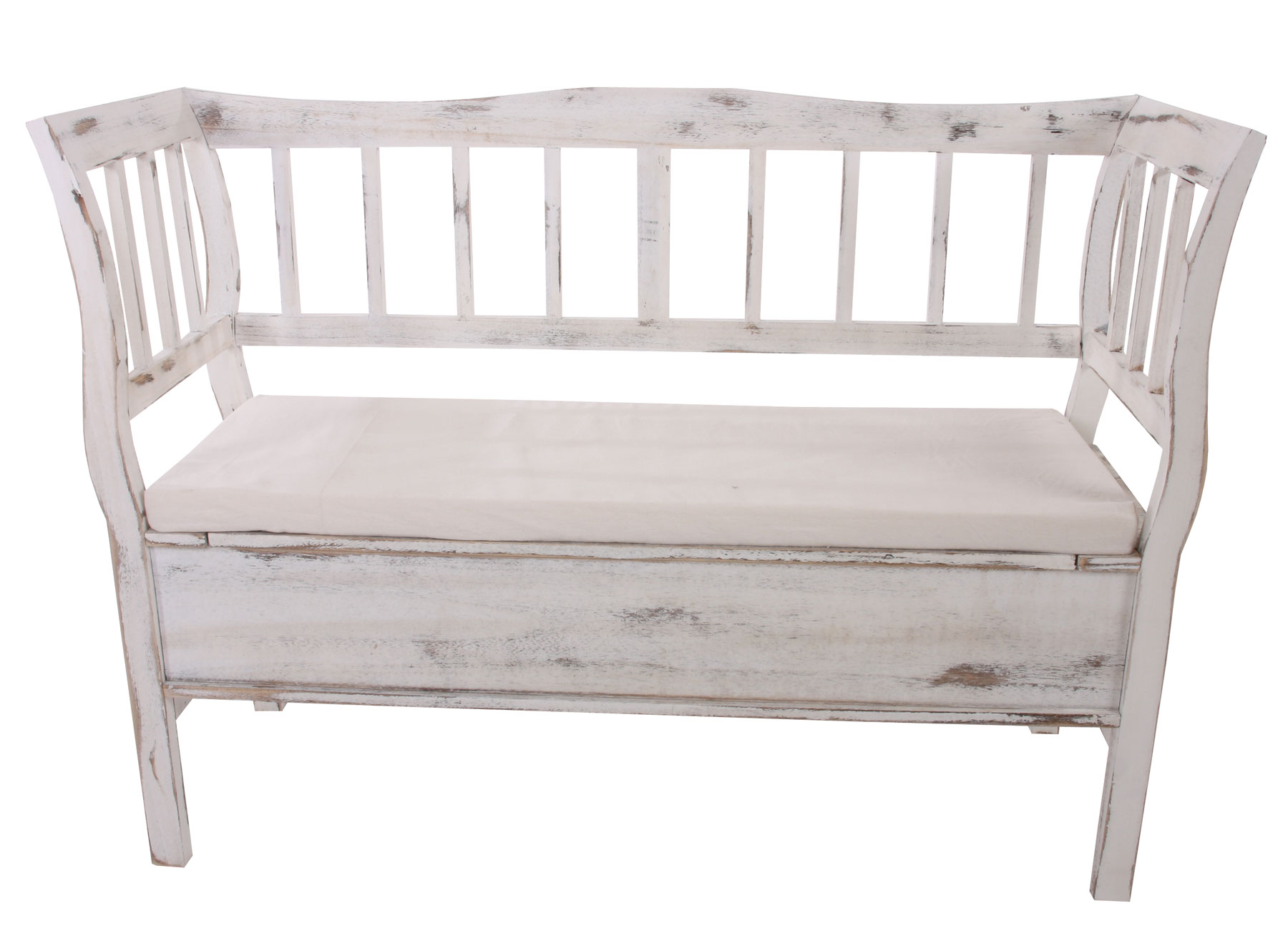 sitzbank t207 staufach kissen weiss shabby. Black Bedroom Furniture Sets. Home Design Ideas