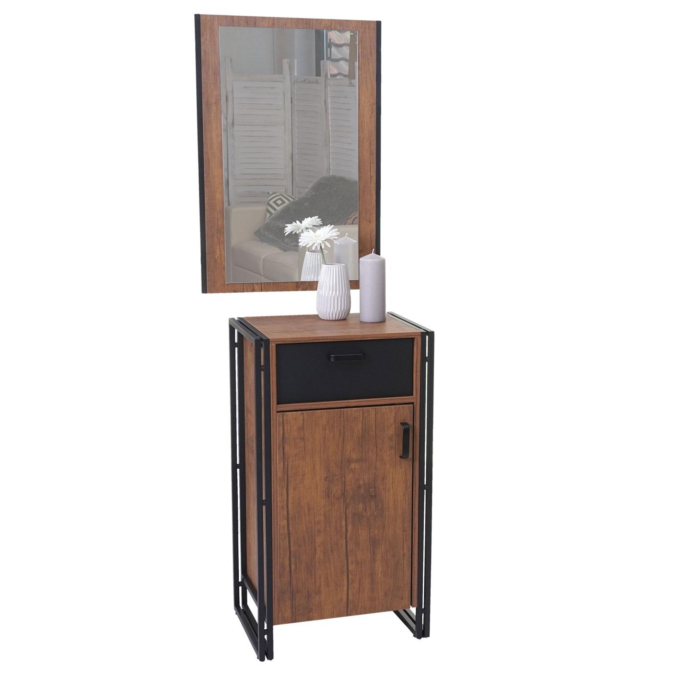 kommode mit spiegel hwc wildeiche optik. Black Bedroom Furniture Sets. Home Design Ideas