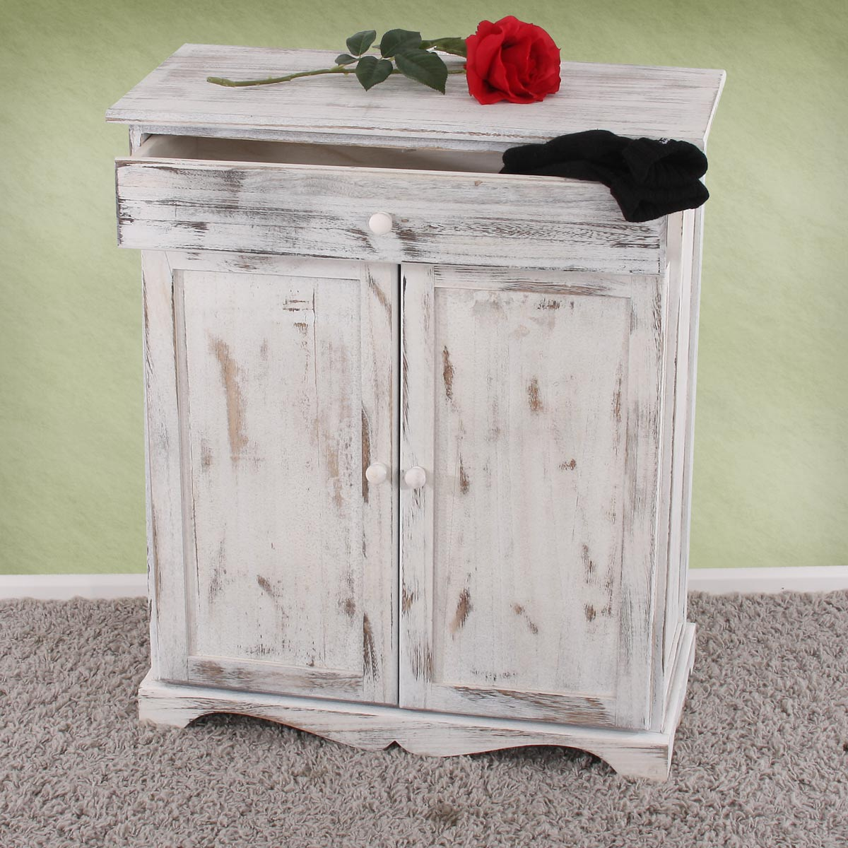 kommode, 78x66x33cm, shabby-look, vintage ~ weiss seite 3 - jamb.ch