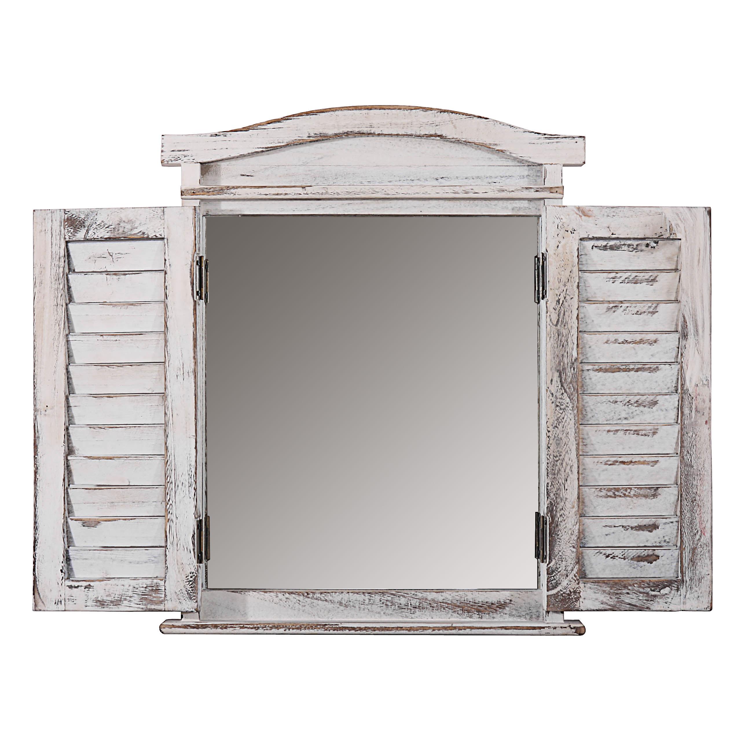 Spiegelfenster mit Fensterläden Shabby Chic ~ weiss - Jamb.ch