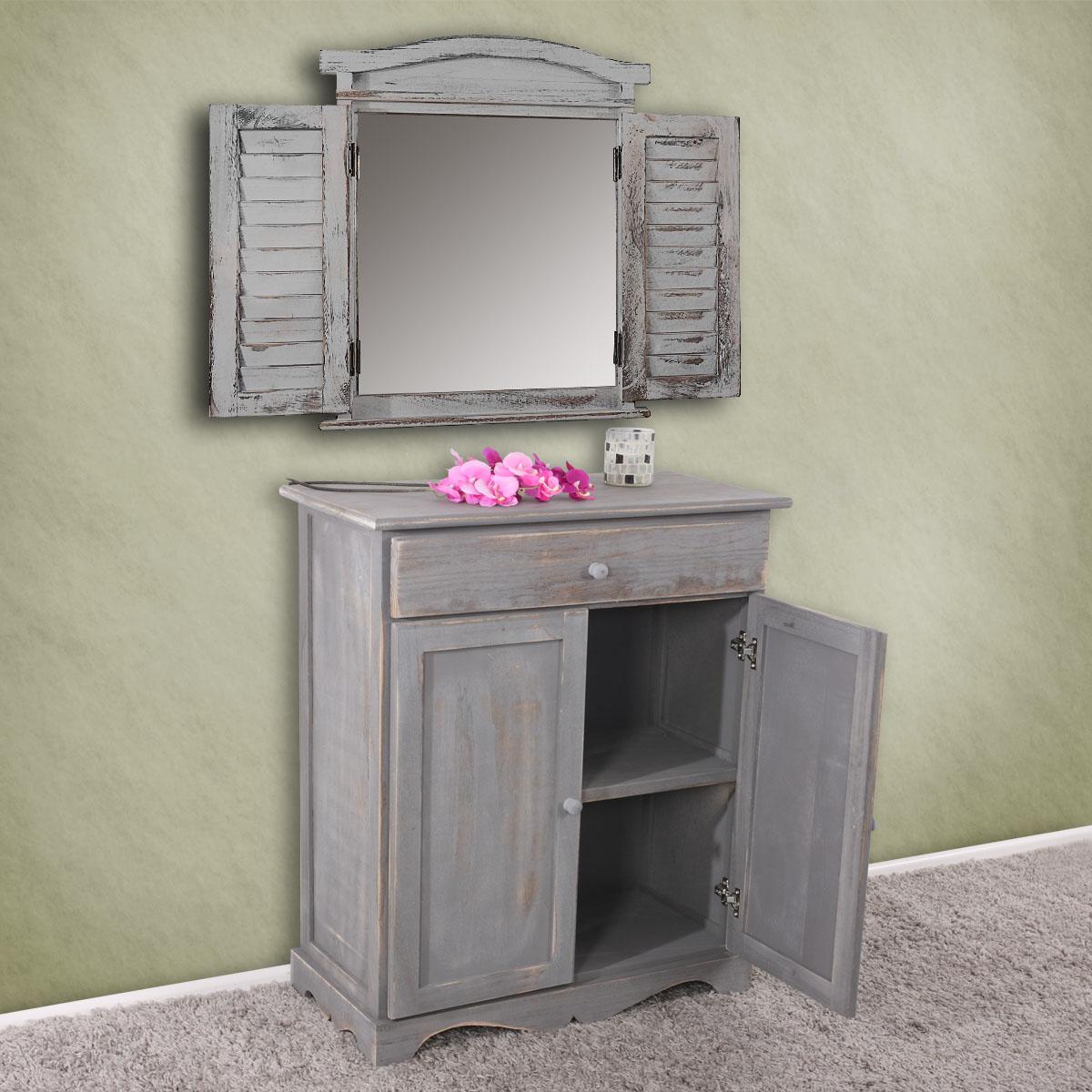 kommode 78x66x33cm shabby look vintage dunkelgrau. Black Bedroom Furniture Sets. Home Design Ideas