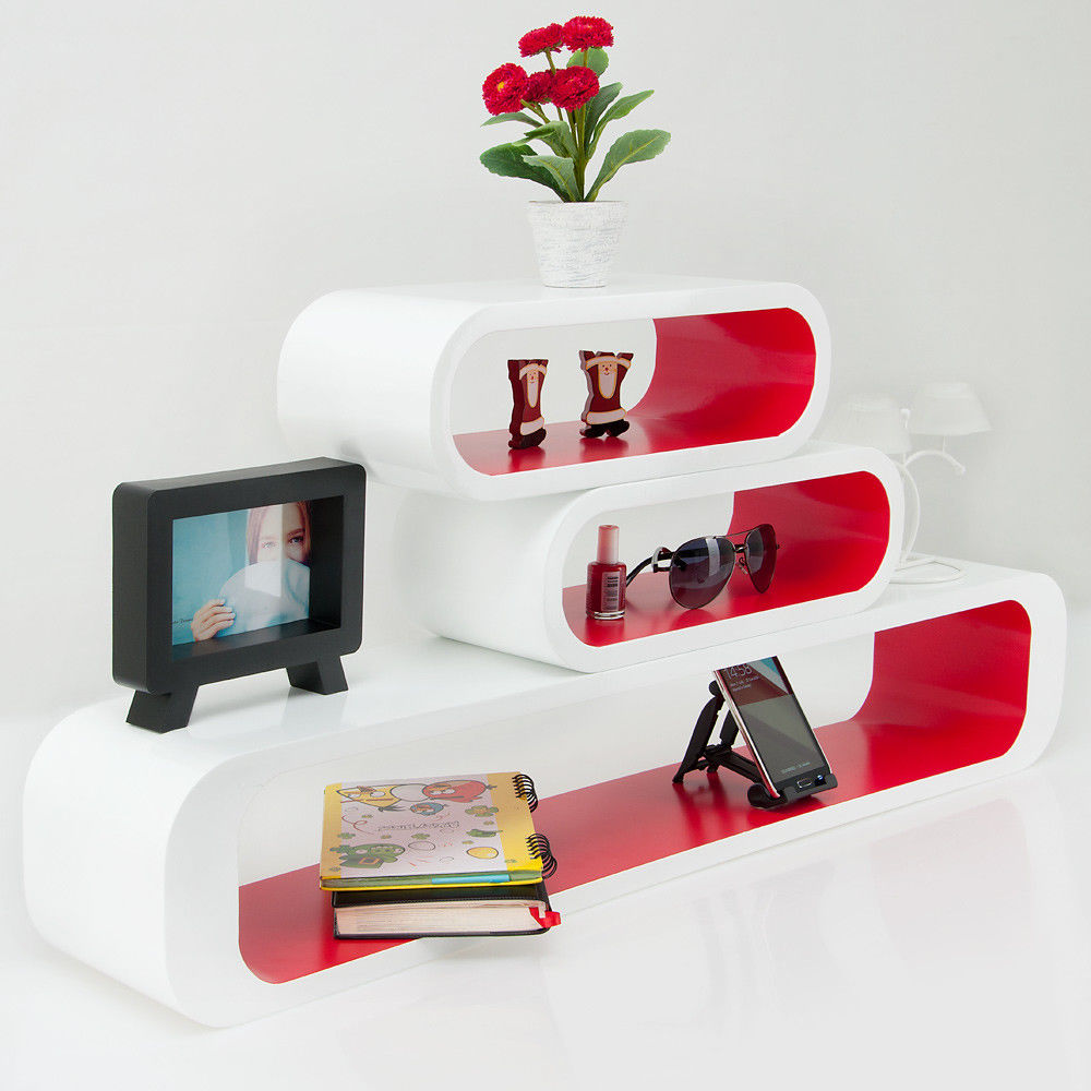 wandregal cube weiss rot 3er set. Black Bedroom Furniture Sets. Home Design Ideas