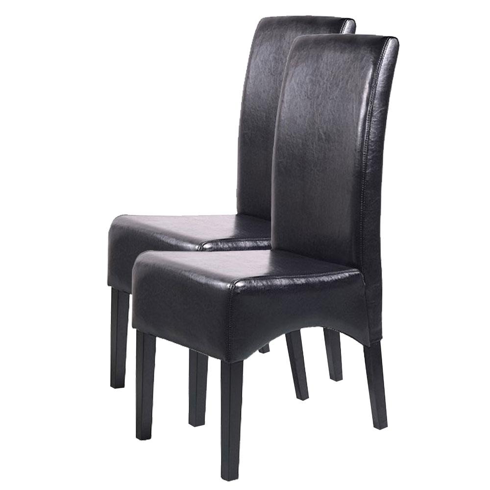 2x esszimmerstuhl latina leder schwarz dunkle beine. Black Bedroom Furniture Sets. Home Design Ideas