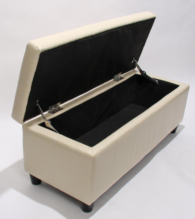 Bank MIT Aufbewahrung Kriens Leder 112x45x45cm ~ Creme