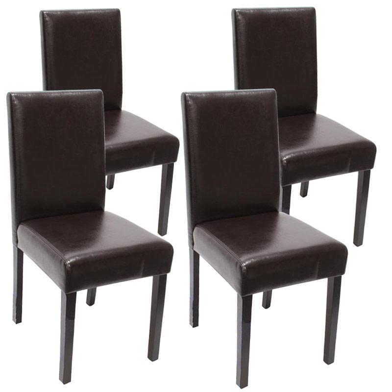 4x esszimmerstuhl stuhl lehnstuhl littau leder braun dunkle beine. Black Bedroom Furniture Sets. Home Design Ideas