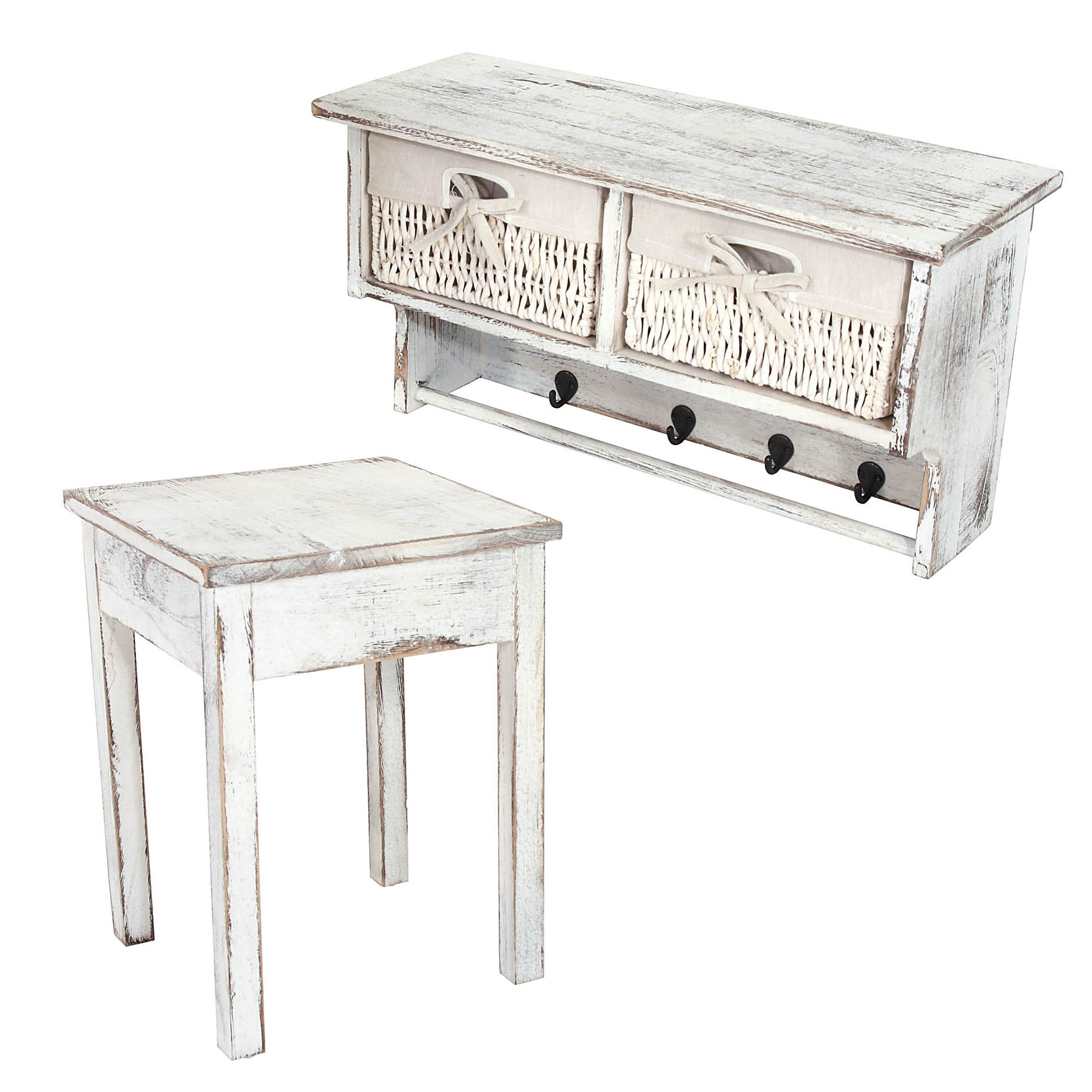 shabby chic garderobe mit 2 hockern. Black Bedroom Furniture Sets. Home Design Ideas