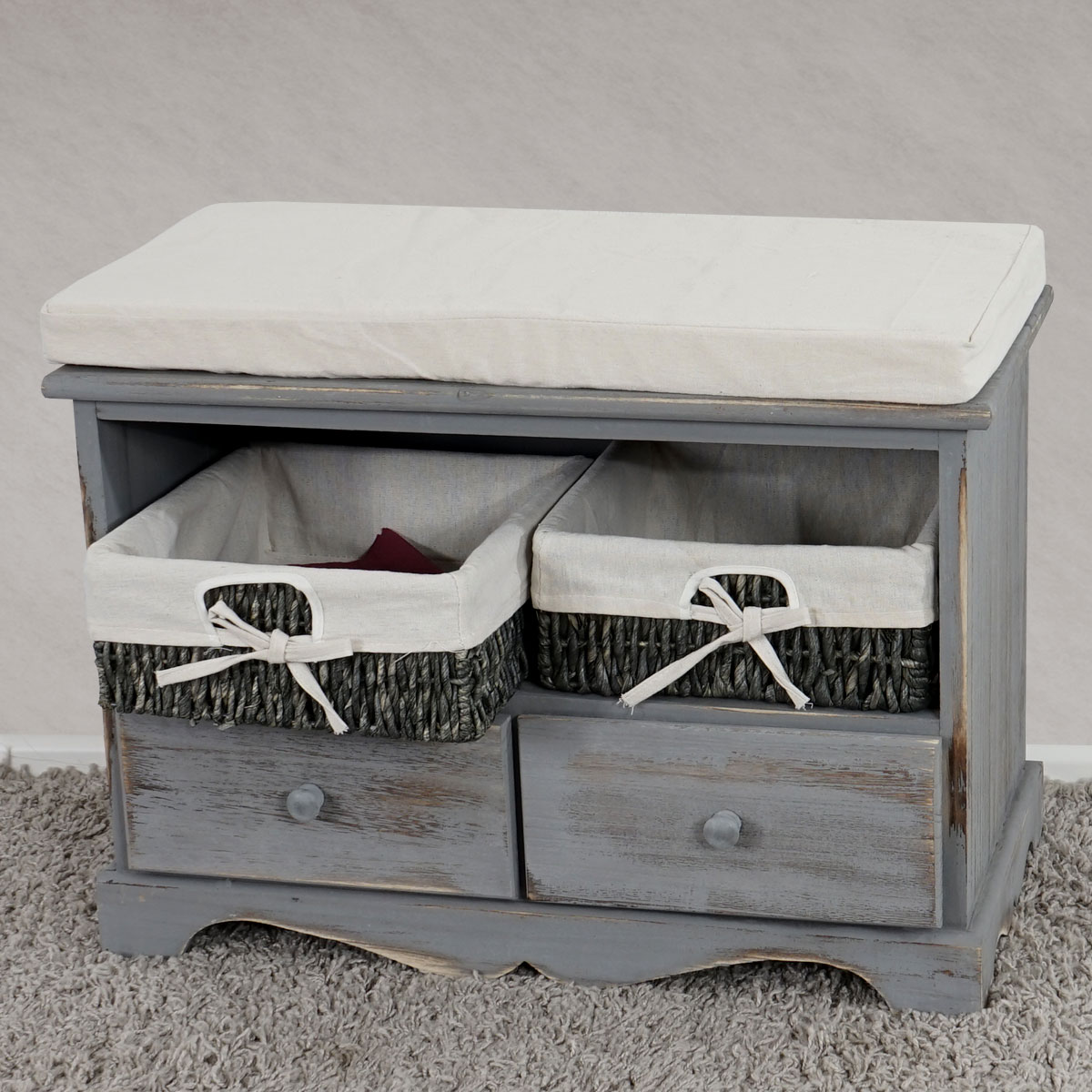 shabby sitzbank kommode mit 2 k rbenvintage grau. Black Bedroom Furniture Sets. Home Design Ideas