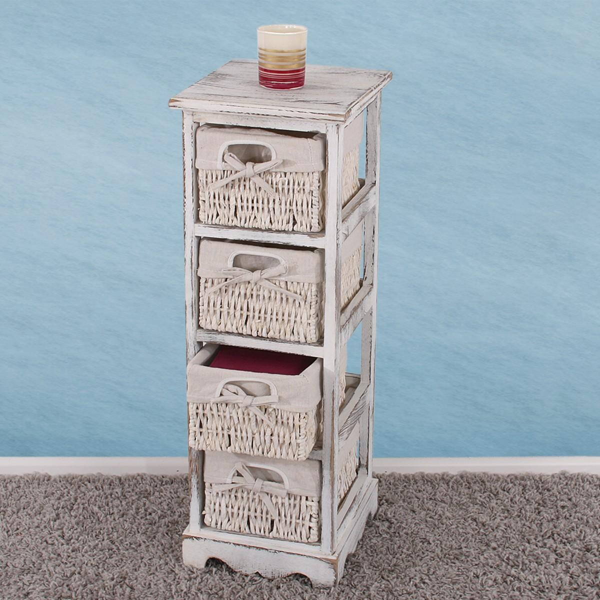 shabby kommode mit 4 korbschubladen vintage. Black Bedroom Furniture Sets. Home Design Ideas