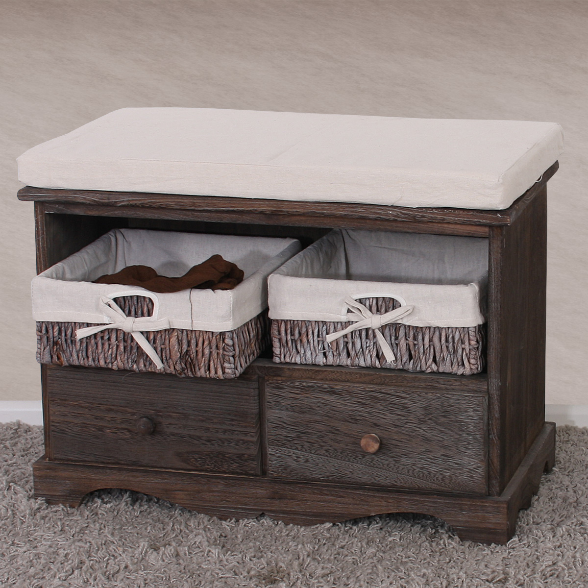 shabby sitzbank kommode mit 2 k rben vintage braun. Black Bedroom Furniture Sets. Home Design Ideas