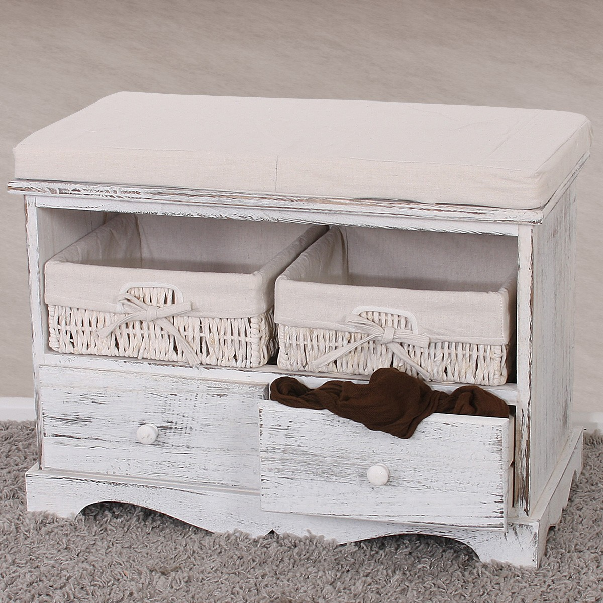 shabby sitzbank kommode weiss mit 2 k rben. Black Bedroom Furniture Sets. Home Design Ideas