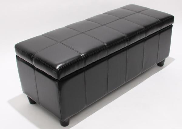 sitzbank mit aufbewahrung kriens leder 112x45x45cm. Black Bedroom Furniture Sets. Home Design Ideas