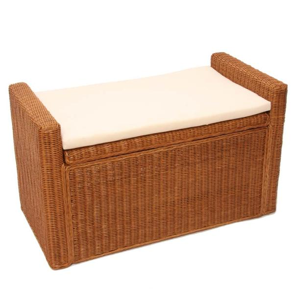 sitzbank rattan mit stauraum und kissen 88cm honigfarben. Black Bedroom Furniture Sets. Home Design Ideas