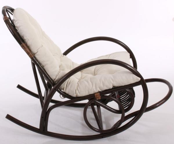 schaukelstuhl rattansessel derby braun mit wei er auflage. Black Bedroom Furniture Sets. Home Design Ideas